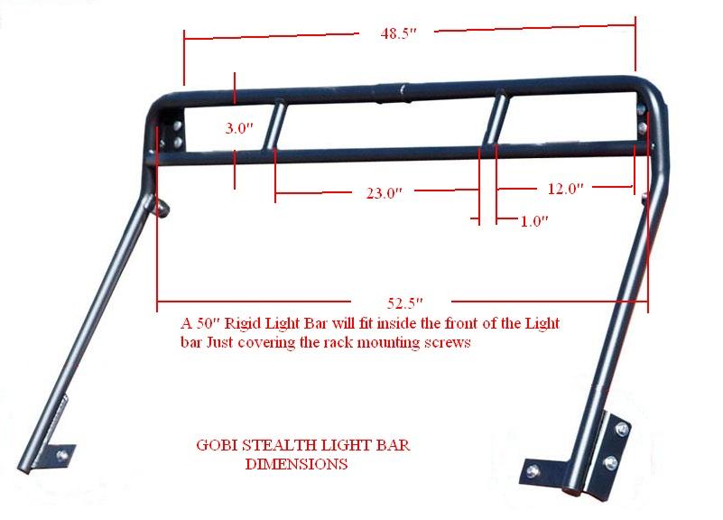 ... Roof Rack Dimensions · Gobi Gobi JK Recon Stealth Light Bar Dimensions  ...