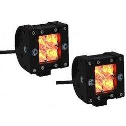 """KC HiLiTES LZR LED 2"""" Cube Series Spot Light Kit Amber"""