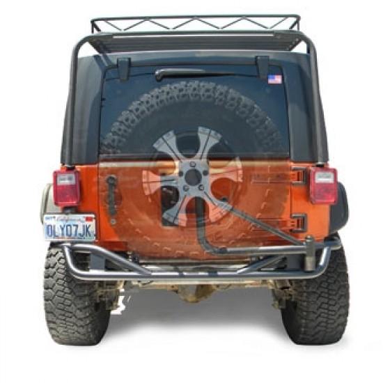Olympic 4x4 Jeep JK 07-Up Rear Boa Bumper w/ Tuff N Easy Tire Carrier