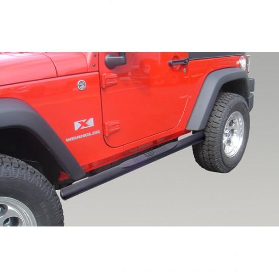"""Rugged Ridge Jeep Wrangler JK 2DR 4 1/2"""" Oval Side Steps (Black)"""