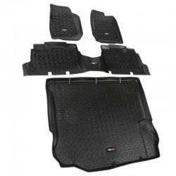 Rugged Ridge Jeep Wrangler JK 11-14 4DR Floor/Cargo Liner Kit (Black Tan Gray)