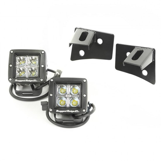 Rugged Ridge Jeep JK 07-16 Windshield Light Mount w/ LED Cubes Kit
