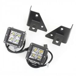 Rugged Ridge Jeep CJ, YJ 76-95 Windshield Bracket w/ Square LED Lights Kit