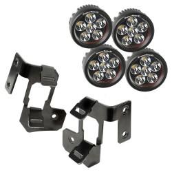 Rugged Ridge Jeep JK 07-15 A-Pillar Dual LED Light Mount w/ Round LEDs