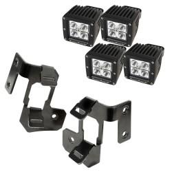 Rugged Ridge Jeep JK 07-15 A-Pillar Dual LED Light Mount w/ Square LEDs