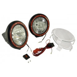 Rugged Ridge Two 7-Inch HID Lights Black Composite Housing w/ Harness