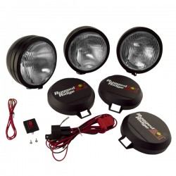 Rugged Ridge Three 6-Inch HID Lights Black Steel Housing w/Harness