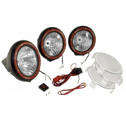 Rugged Ridge Three 7-Inch HID Lights Black Composite Housing w/Harness