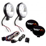 Rugged Ridge Two 6-Inch Slim Off Road Lights Black w/ Harness