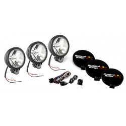 Rugged Ridge Three 6-Inch Round Off Road Lights Black w/ Harness