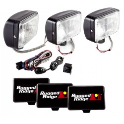 Rugged Ridge Three 5x7-Inch Off Road Light Black w/ Harness