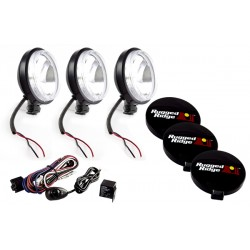 Rugged Ridge Three 6-inch Slim Off Road Lights Black w/ Harness