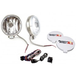 Rugged Ridge Two 6-Inch Slim Off Road Lights Stainless w/ Harness