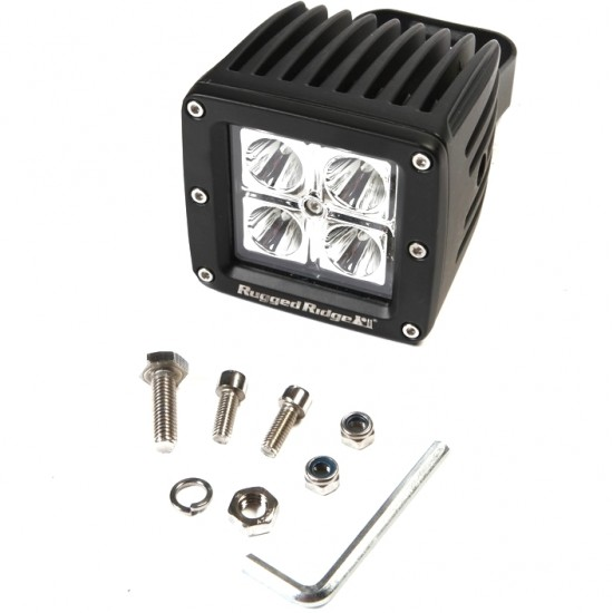 "Rugged Ridge LED Light 16 Watt Square 3"" w/ Black Housing"
