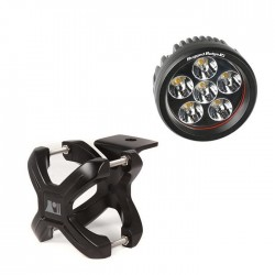 "Rugged Ridge LED Light 18 Watt Round 3"" w/ Black 2.25""-3.00"" X-Clamp"
