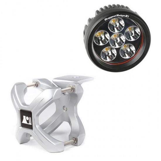 "Rugged Ridge LED Light 18 Watt Round 3"" w/ Silver 2.25""-3.00"" X-Clamp"