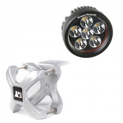 "Rugged Ridge LED Light 18 Watt Round 3"" w/ Silver 1.25""-2.00"" X-Clamp"
