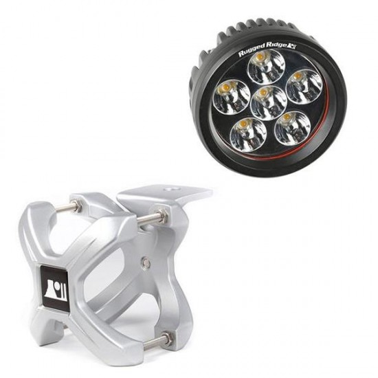 "Rugged Ridge LED Light 18 Watt Round 3"" w/ Silver 1.25""-2.00"" X-Clamp"