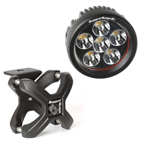 "Rugged Ridge LED Light 18 Watt Round 3"" w/ Textured Black 1.25""-2.00"" X-Clamp"