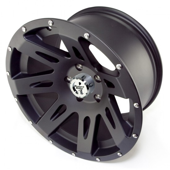 "Rugged Ridge Aluminum Wheel Black Satin 17"" x 9"" 4.625"" BS 5 on 5"