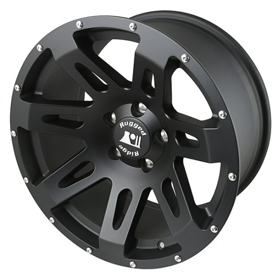 "Rugged Ridge Aluminum XHD Wheel Black Satin 18"" x 9"" 4 9/16 BS 5 on 5"
