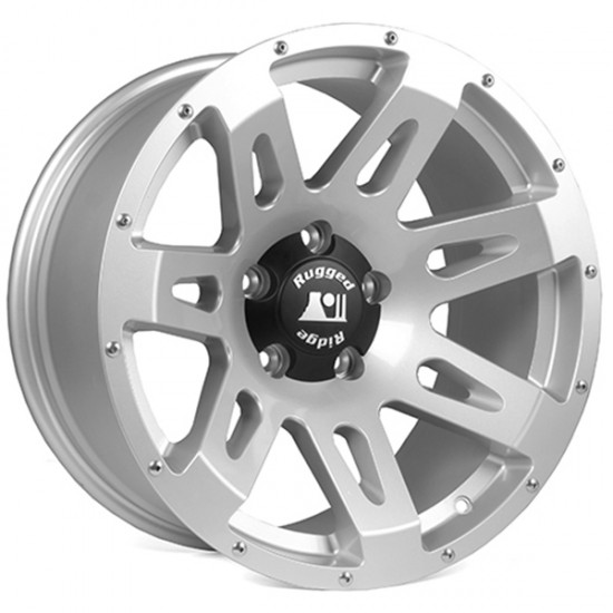 "Rugged Ridge Aluminum XHD Wheel Silver 18"" x 9"" 4 9/16 BS 5 on 5"
