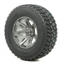 "Rugged Ridge 17"" XHD Gun Metal Wheel w/ 33"" Mickey Thompson ATZ Tire"