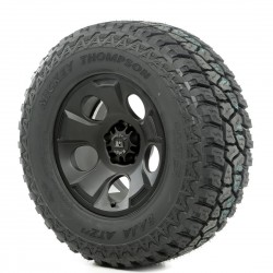 "Rugged Ridge 17"" Drakon Black Satin w/ 33"" Mickey Thompson ATZ Tire"