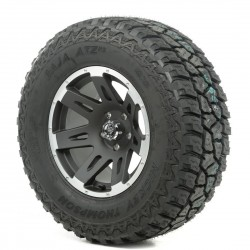 "Rugged Ridge 17"" XHD Black w/Lip Wheel w/ 34"" Mickey Thompson ATZ Tire"