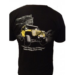 sPOD T-Shirt- Black with Yellow JK on Back Small sPOD logo on Front