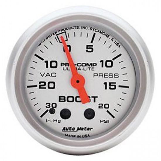 "Auto Meter Ultra-Lite 2 1/16"" (52.4mm) Mechanical Boost / Vacuum Gauge"