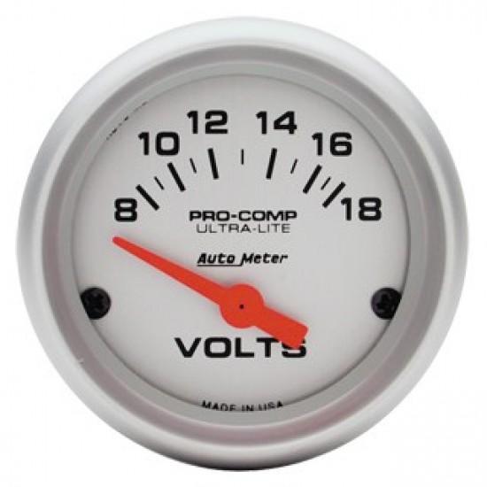 """Auto Meter Ultra-Lite 2-1/16"""" Voltmeter Gauge"""